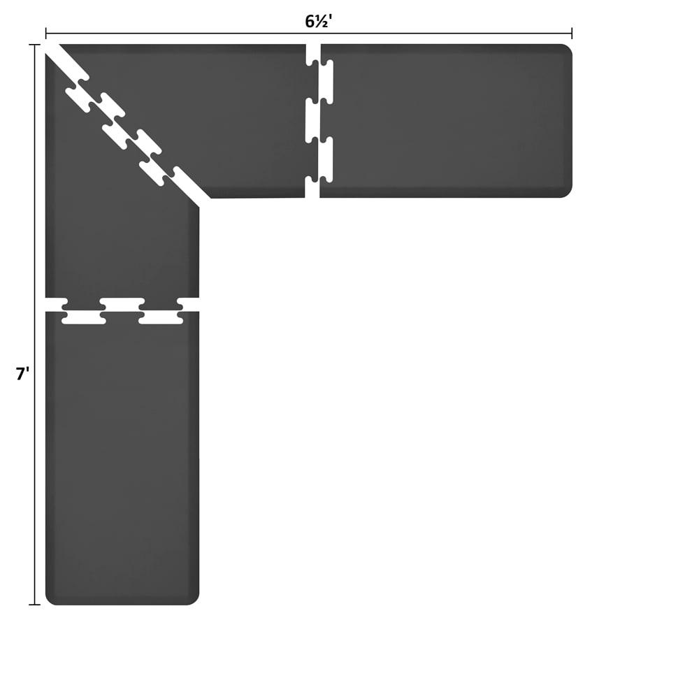 Wellness Mats LS2WMP765BLK L-Series Puzzle Piece Collection w/ Non-Slip Top & Bottom, 7x6.5x2-ft, Black