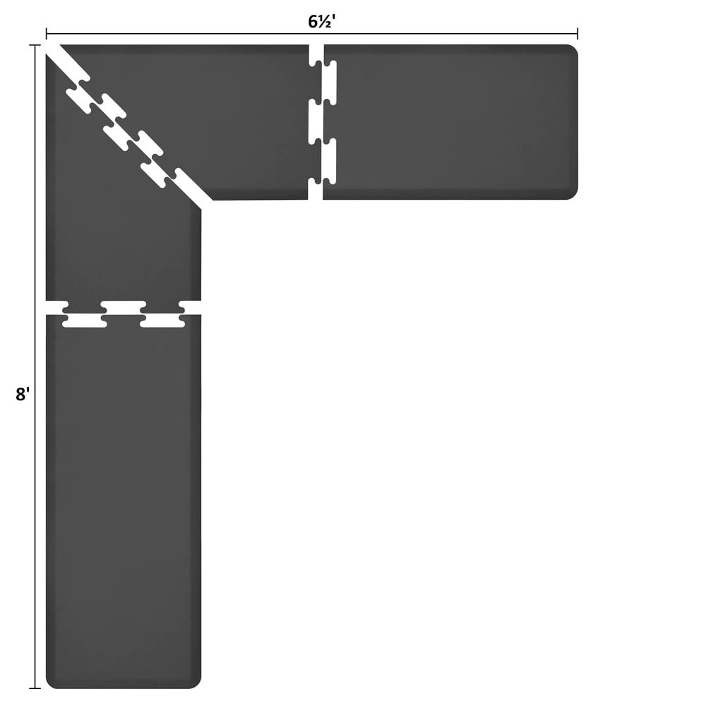 Wellness Mats LS2WMP865BLK L-Series Puzzle Piece Collection w/ Non-Slip Top & Bottom, 8x6.5x2-ft, Black