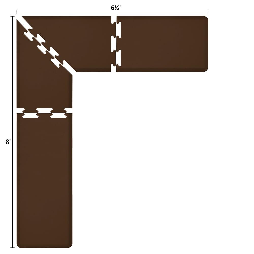 Wellness Mats LS2WMP865BRN L-Series Puzzle Piece Collection w/ Non-Slip Top & Bottom, 8x6.5x2-ft, Brown