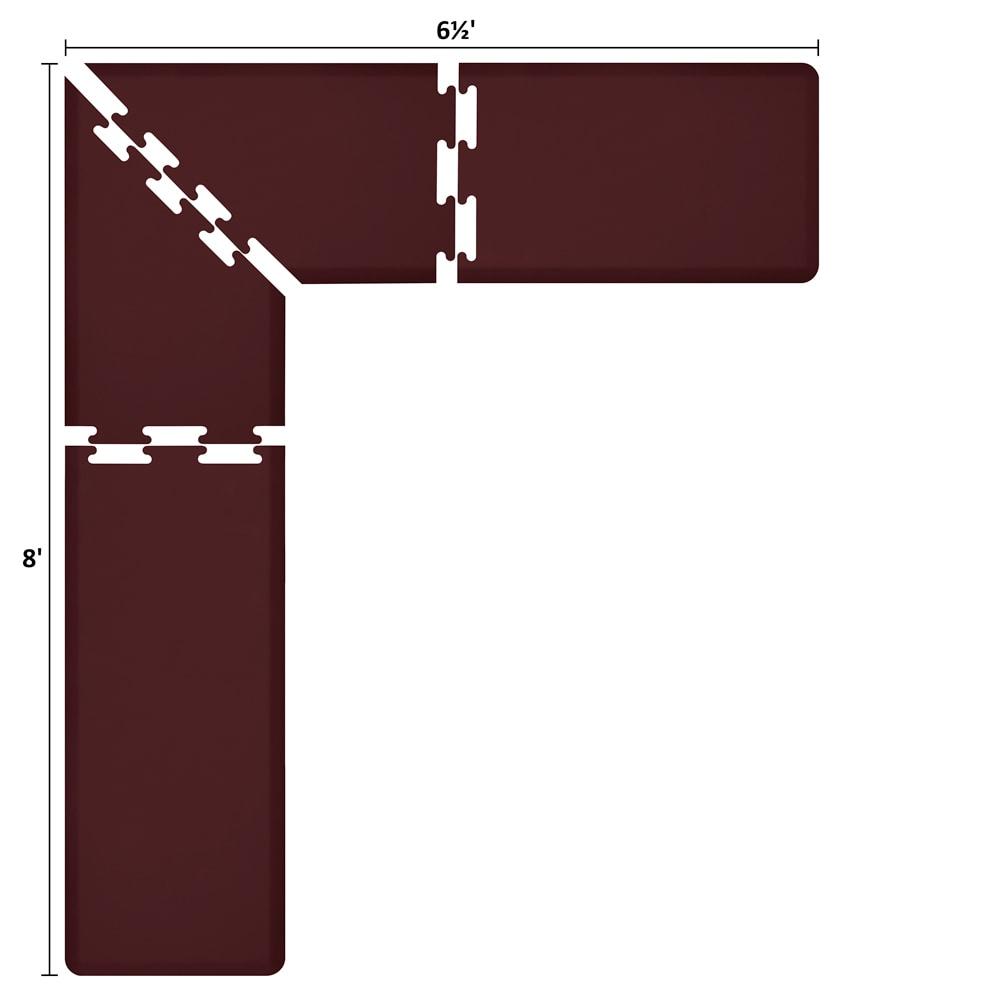 Wellness Mats LS2WMP865BUR L-Series Puzzle Piece Collection w/ Non-Slip Top & Bottom, 8x6.5x2-ft, Burgundy