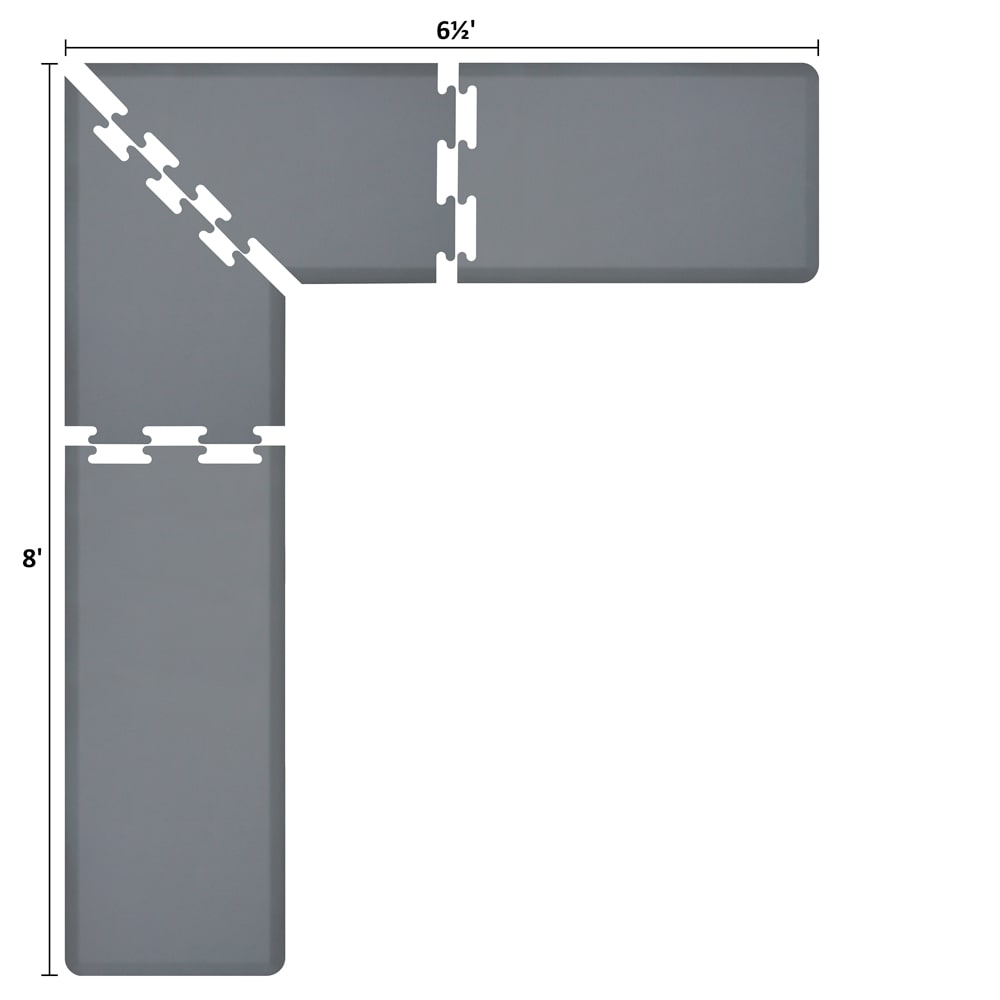 Wellness Mats LS2WMP865GRY L-Series Puzzle Piece Collection w/ Non-Slip Top & Bottom, 8x6.5x2-ft, Gray