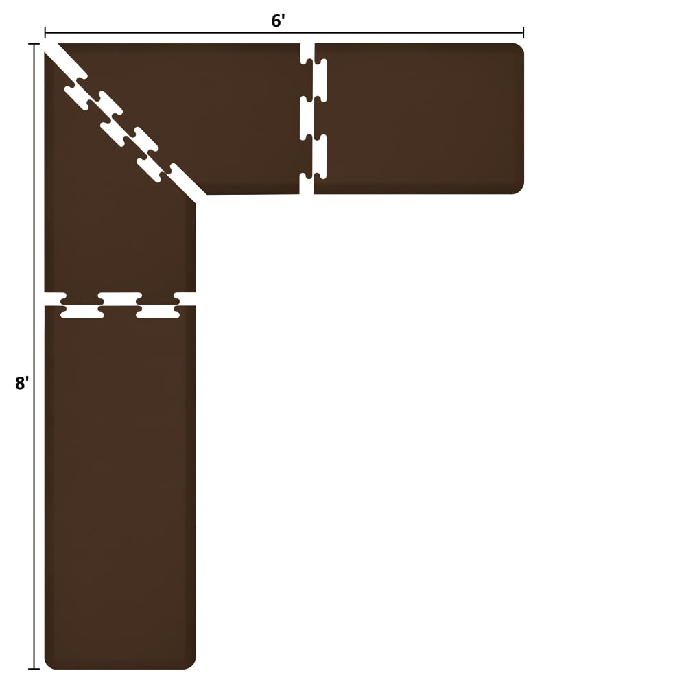Wellness Mats LS2WMP86BRN L-Series Puzzle Piece Collection w/ Non-Slip Top & Bottom, 8x6x2-ft, Brown