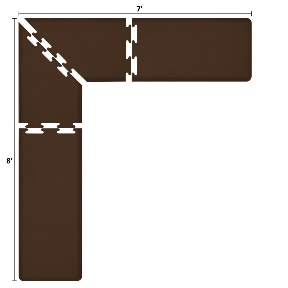 Wellness Mats LS2WMP87BRN L-Series Puzzle Piece Collection w/ Non-Slip Top & Bottom, 8x7x2-ft, Brown