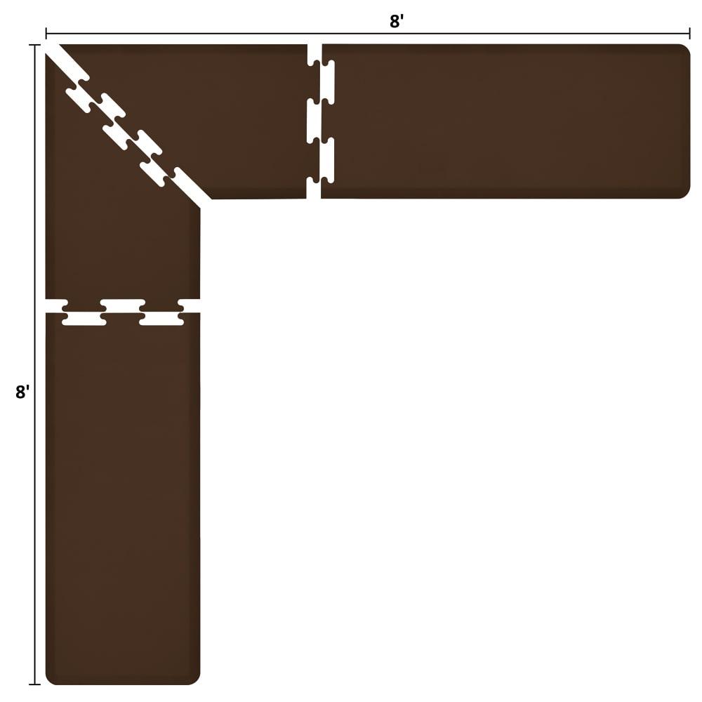 Wellness Mats LS2WMP88BRN L-Series Puzzle Piece Collection w/ Non-Slip Top & Bottom, 8x8x2-ft, Brown