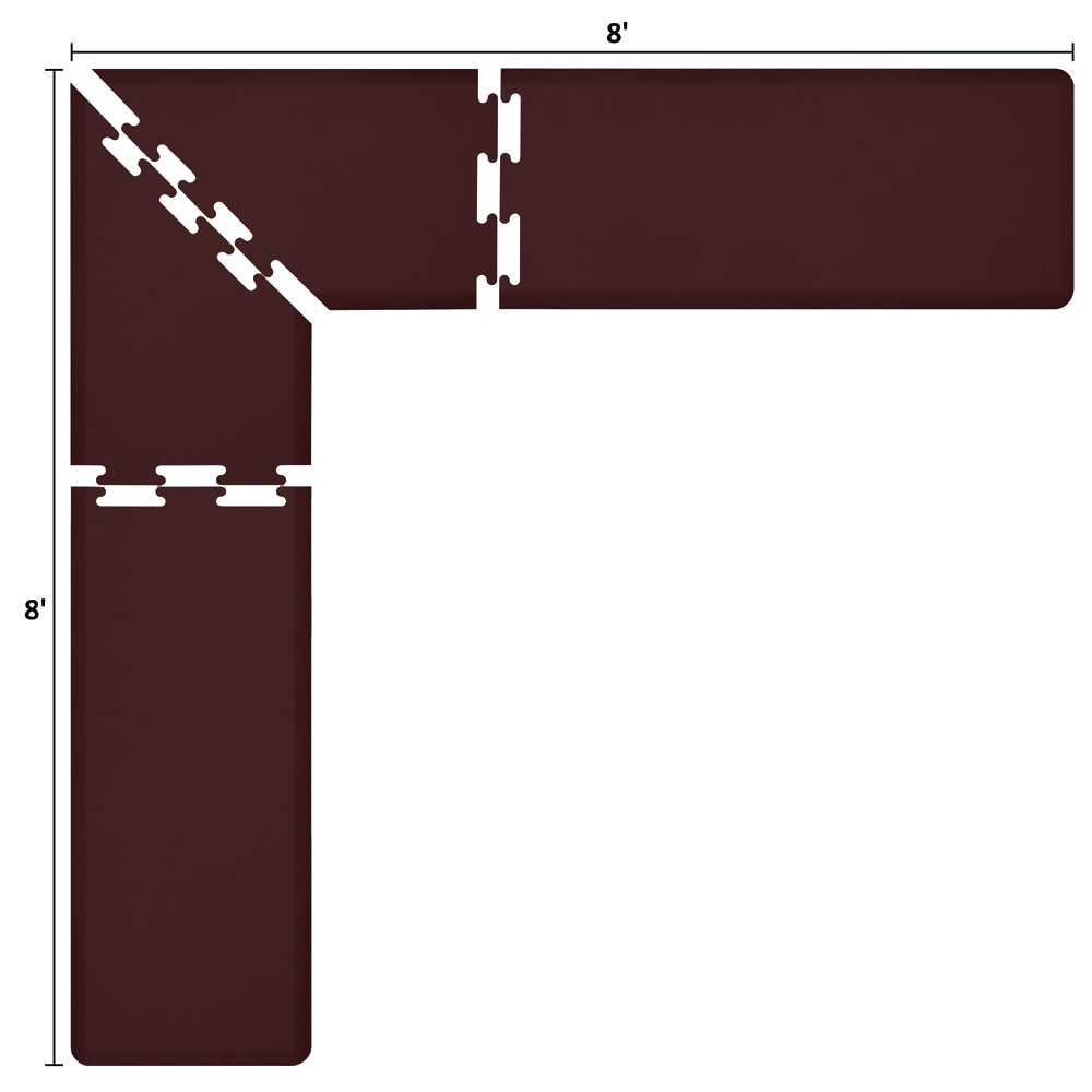 Wellness Mats LS2WMP88BUR L-Series Puzzle Piece Collection w/ Non-Slip Top & Bottom, 8x8x2-ft, Burgundy