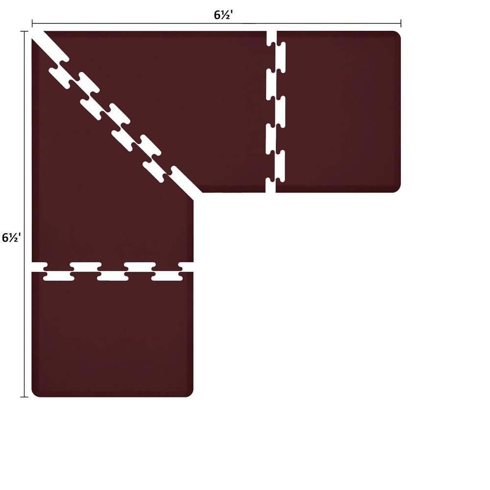 Wellness Mats LS3WMP6565BUR L-Series Puzzle Piece Collection w/ Non-Slip Top & Bottom, 6.5x6.5x3-ft, Burgundy