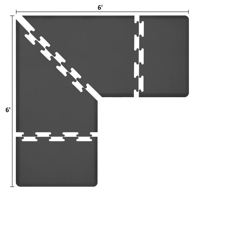 Wellness Mats LS3WMP66BLK L-Series Puzzle Piece Collection w/ Non-Slip Top & Bottom, 6x6x3-ft, Black