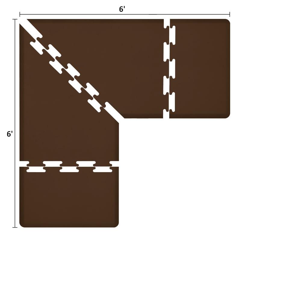 Wellness Mats LS3WMP66BRN L-Series Puzzle Piece Collection w/ Non-Slip Top & Bottom, 6x6x3-ft, Brown