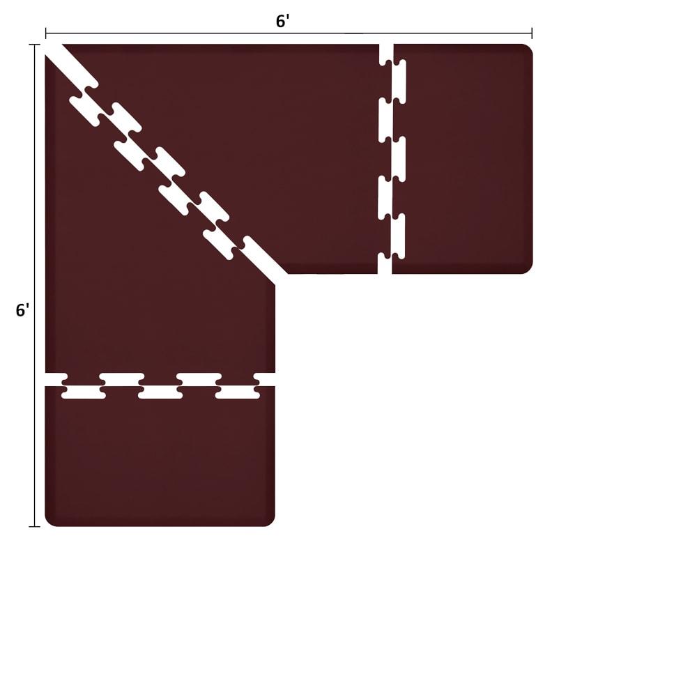 Wellness Mats LS3WMP66BUR L-Series Puzzle Piece Collection w/ Non-Slip Top & Bottom, 6x6x3-ft, Burgundy