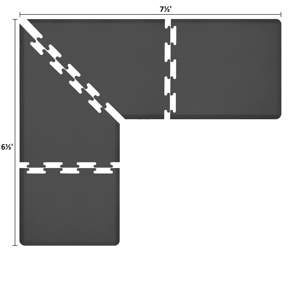 Wellness Mats LS3WMP7565BLK L-Series Puzzle Piece Collection w/ Non-Slip Top & Bottom, 7.5x6.5x3-ft, Black