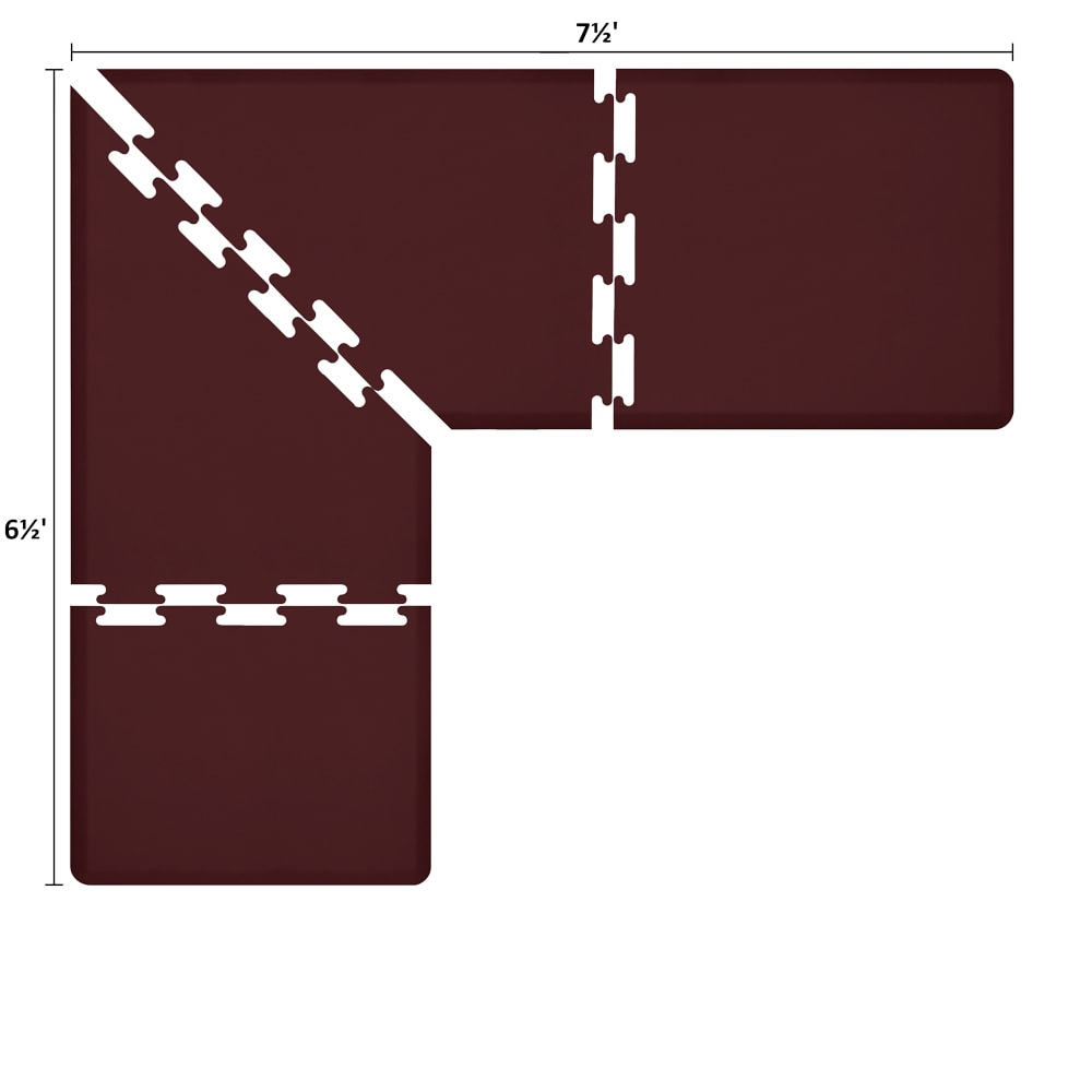 Wellness Mats LS3WMP7565BUR L-Series Puzzle Piece Collection w/ Non-Slip Top & Bottom, 7.5x6.5x3-ft, Burgundy
