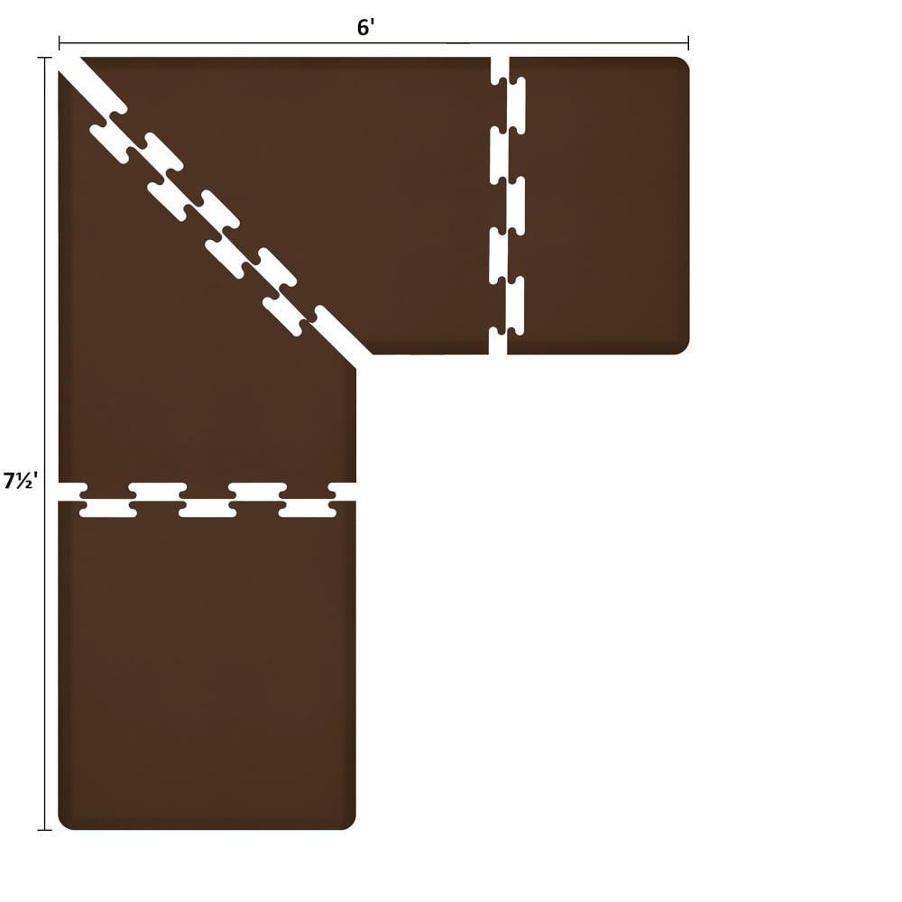 Wellness Mats LS3WMP756BRN L-Series Puzzle Piece Collection w/ Non-Slip Top & Bottom, 7.5x6x3-ft, Brown