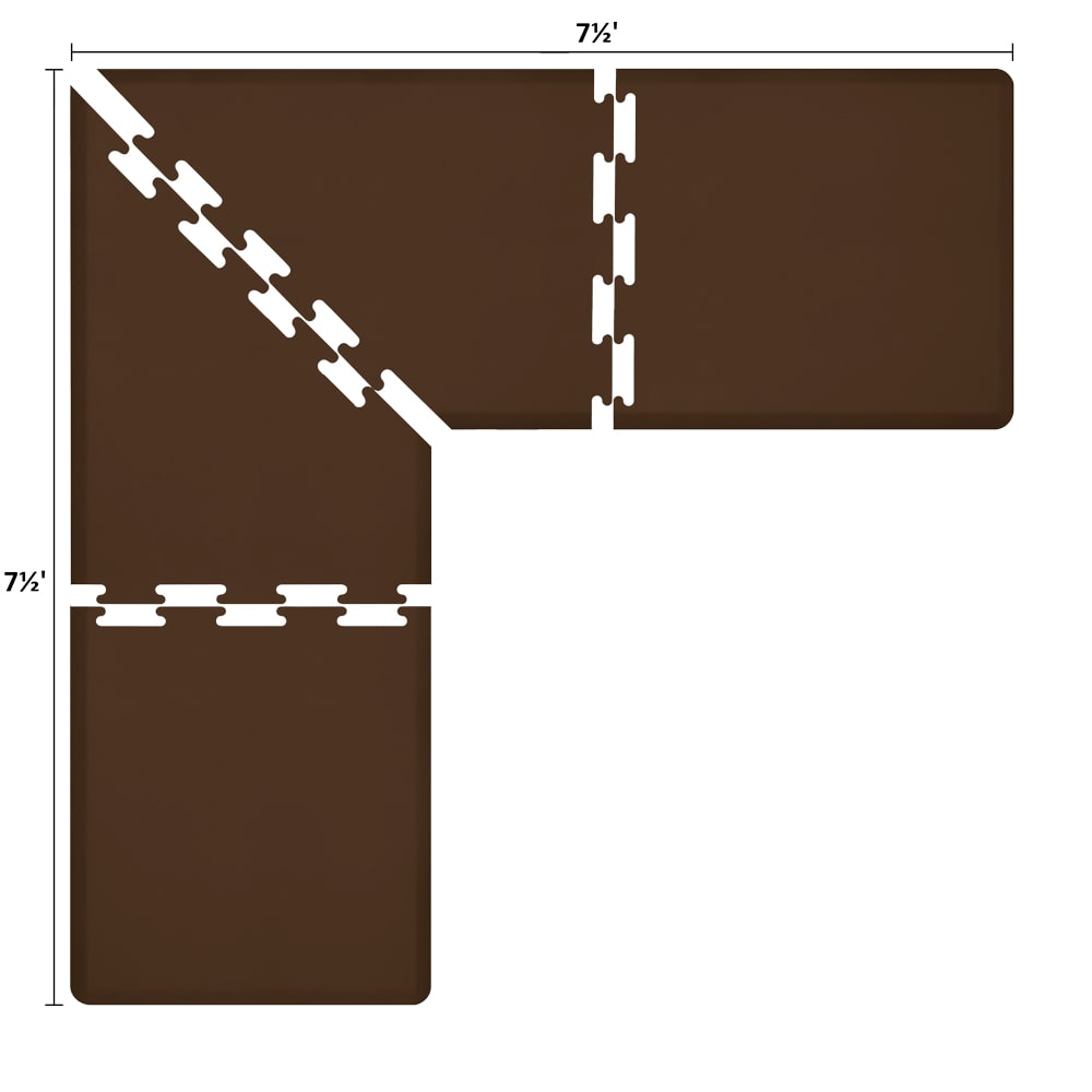 Wellness Mats LS3WMP7575BRN L-Series Puzzle Piece Collection w/ Non-Slip Top & Bottom, 7.5x7.5x3-ft, Brown