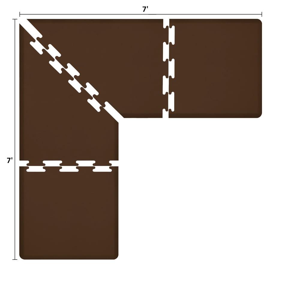 Wellness Mats LS3WMP77BRN L-Series Puzzle Piece Collection w/ Non-Slip Top & Bottom, 7x7x3-ft, Brown