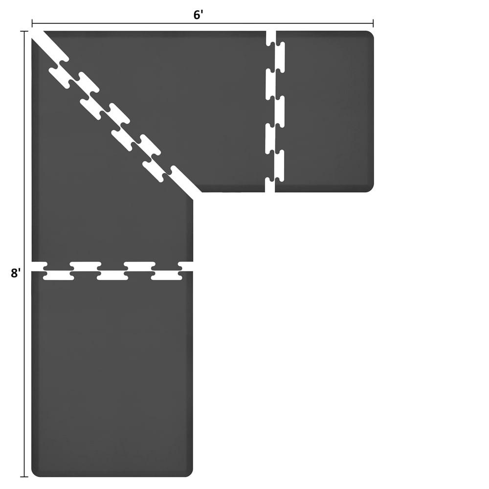 Wellness Mats LS3WMP86BLK L-Series Puzzle Piece Collection w/ Non-Slip Top & Bottom, 8x6x3-ft, Black