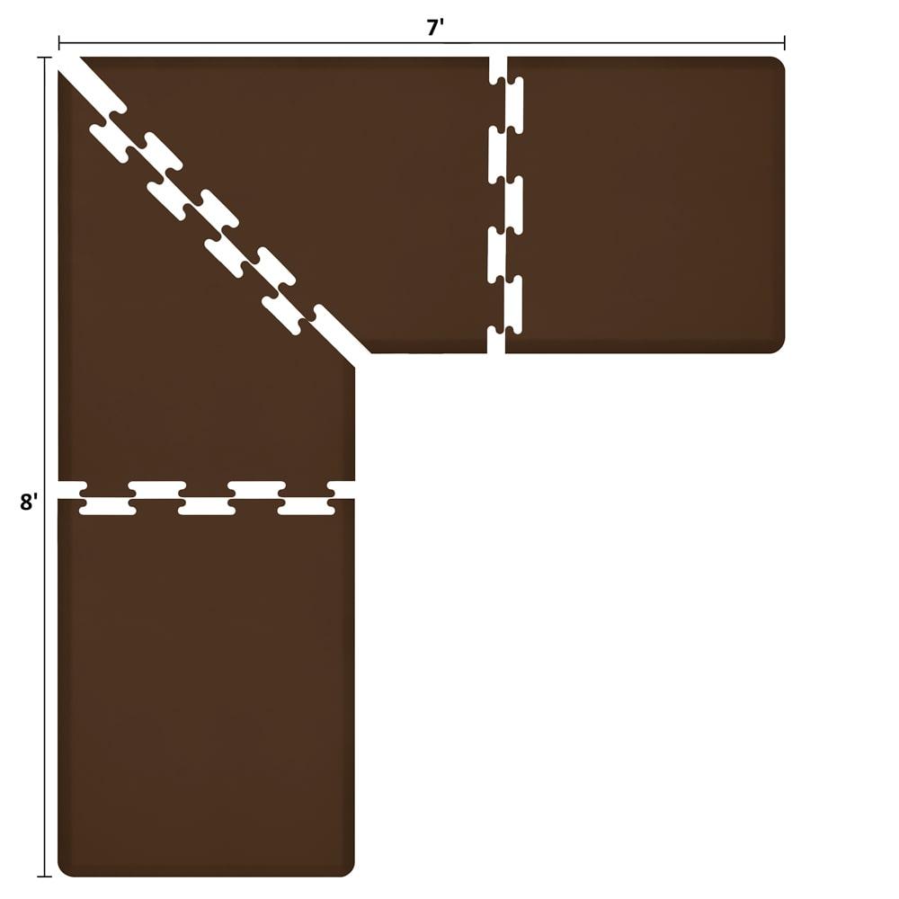 Wellness Mats LS3WMP87BRN L-Series Puzzle Piece Collection w/ Non-Slip Top & Bottom, 8x7x3-ft, Brown