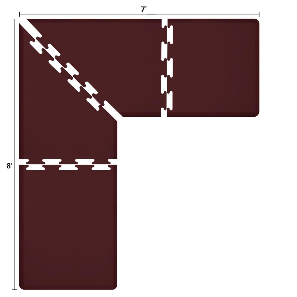 Wellness Mats LS3WMP87BUR L-Series Puzzle Piece Collection w/ Non-Slip Top & Bottom, 8x7x3-ft, Burgundy