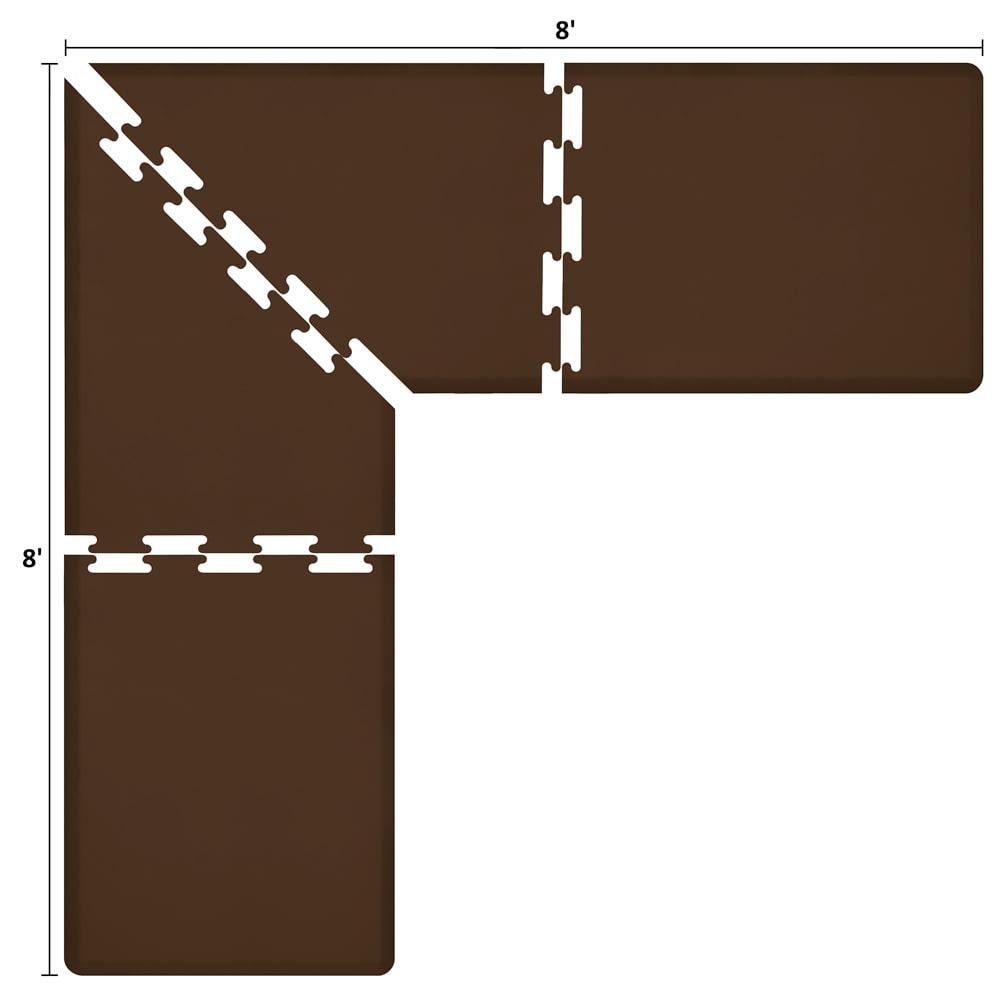 Wellness Mats LS3WMP88BRN L-Series Puzzle Piece Collection w/ Non-Slip Top & Bottom, 8x8x3-ft, Brown