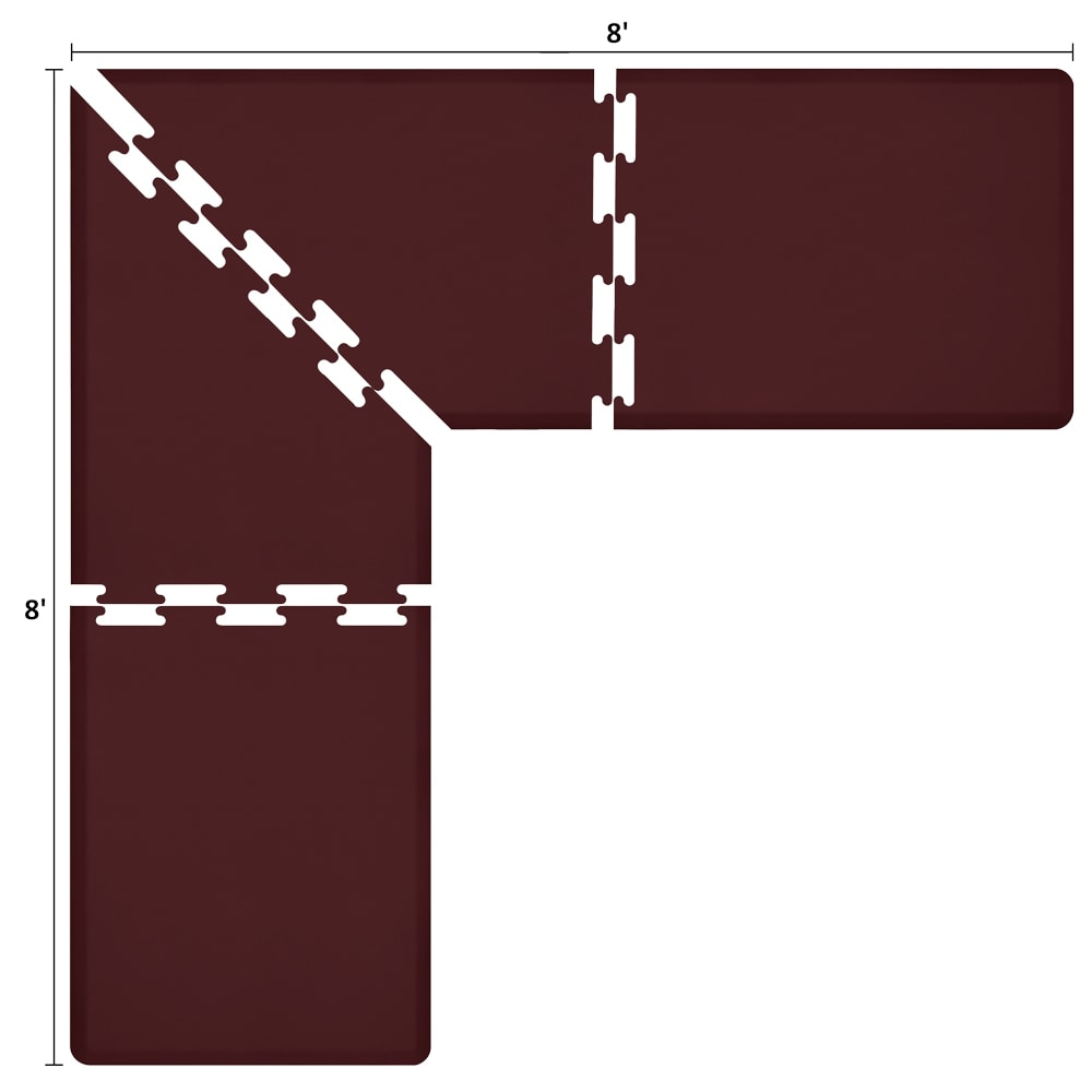 Wellness Mats LS3WMP88BUR L-Series Puzzle Piece Collection w/ Non-Slip Top & Bottom, 8x8x3-ft, Burgundy