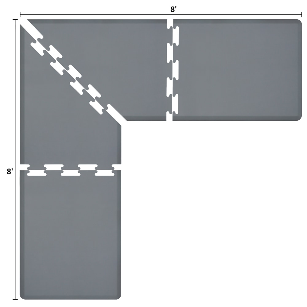 Wellness Mats LS3WMP88GRY L-Series Puzzle Piece Collection w/ Non-Slip Top & Bottom, 8x8x3-ft, Gray