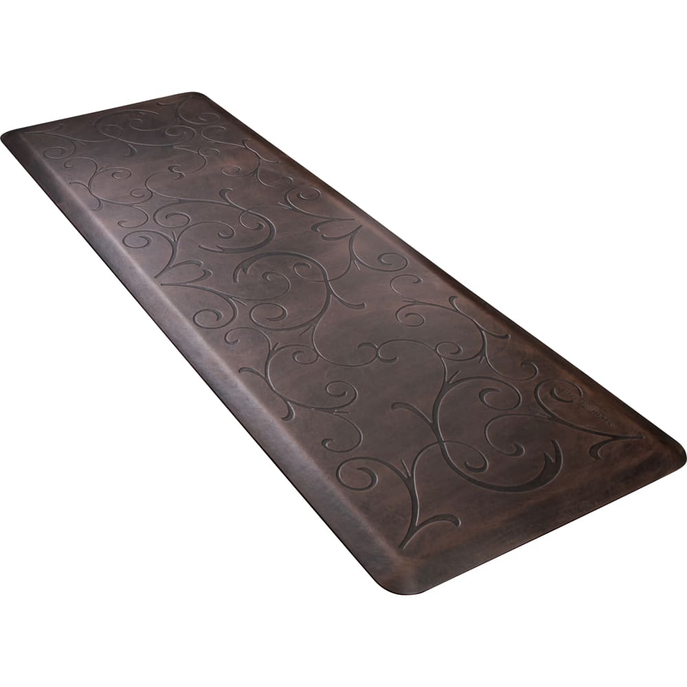 Wellness Mats PMB62WMRDB Bella Motif Mat w/ No-Trip Beveled Edge & Non-Slip Material, 6x2-ft, Antique Dark
