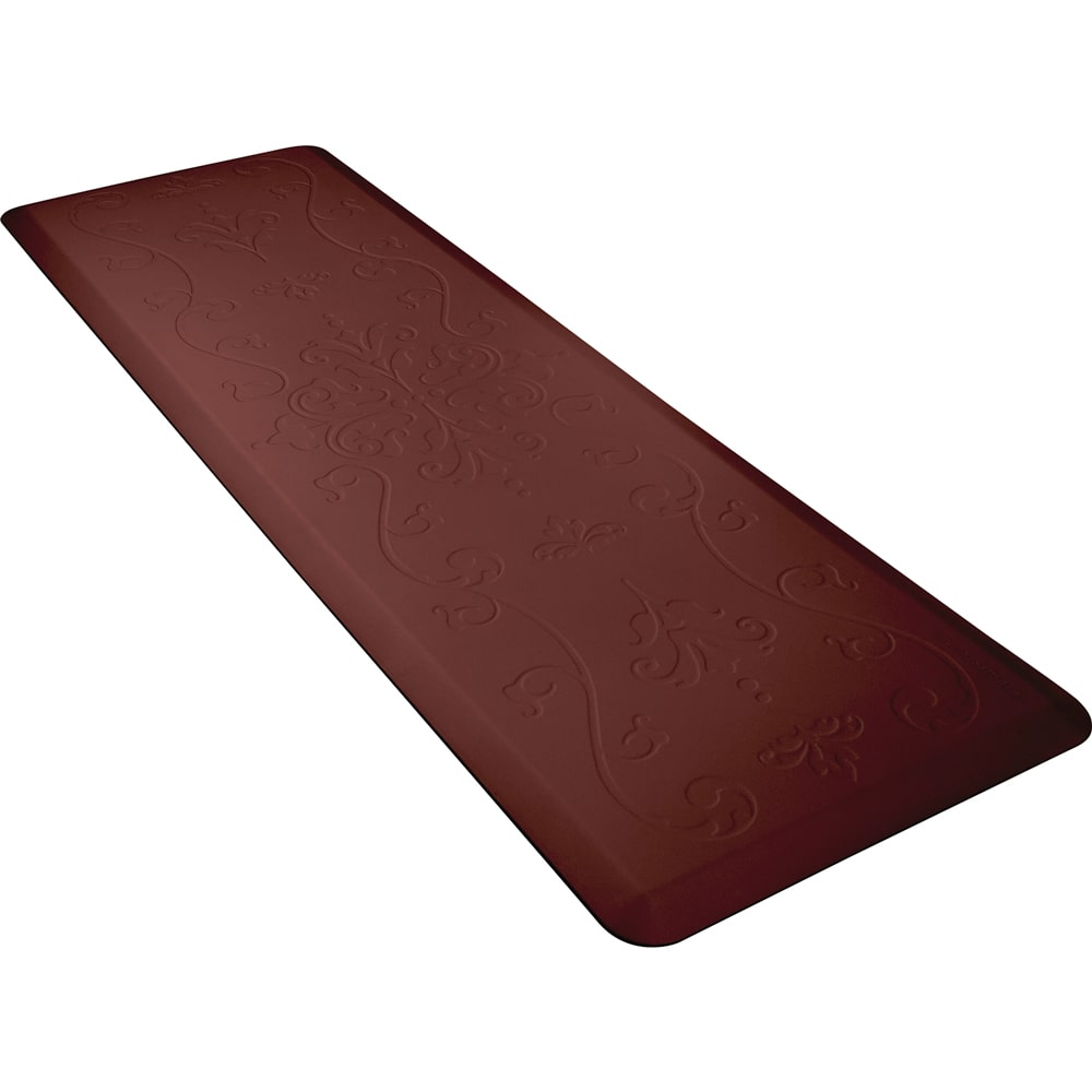 Wellness Mats PME62WMRBUR Entwine Motif Mat w/ No-Trip Beveled Edge & Non-Slip Material, 6x2-ft, Burgundy