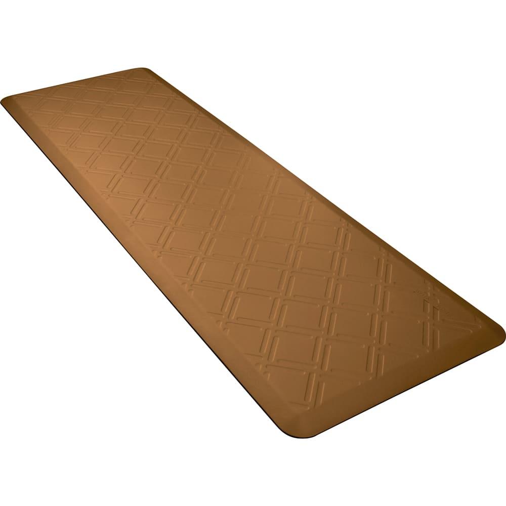 Wellness Mats PMM62WMRTAN Moire Motif Mat w/ No-Trip Beveled Edge & Non-Slip Material, 6x2-ft, Tan