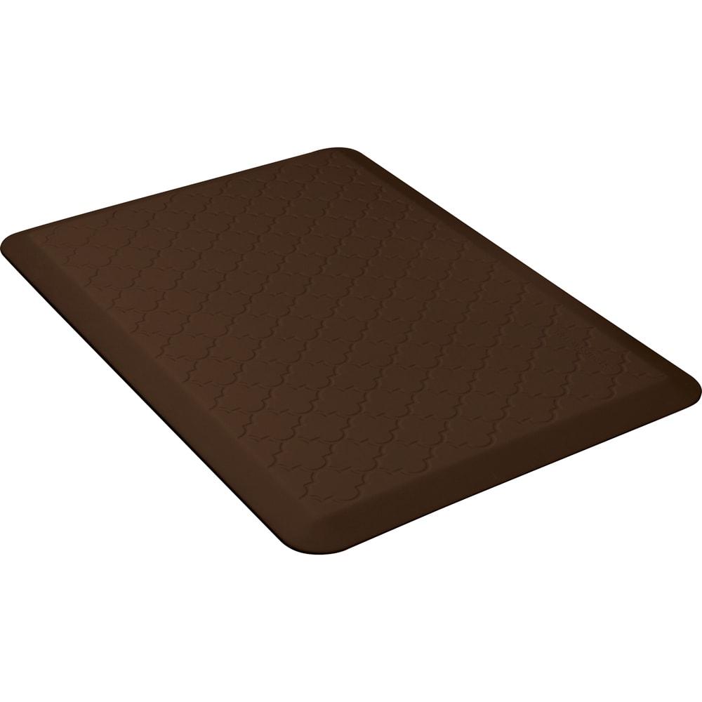 Wellness Mats PMT32WMRBRN Trellis Motif Mat w/ No-Trip Beveled Edge & Non-Slip Material, 3x2-ft, Brown