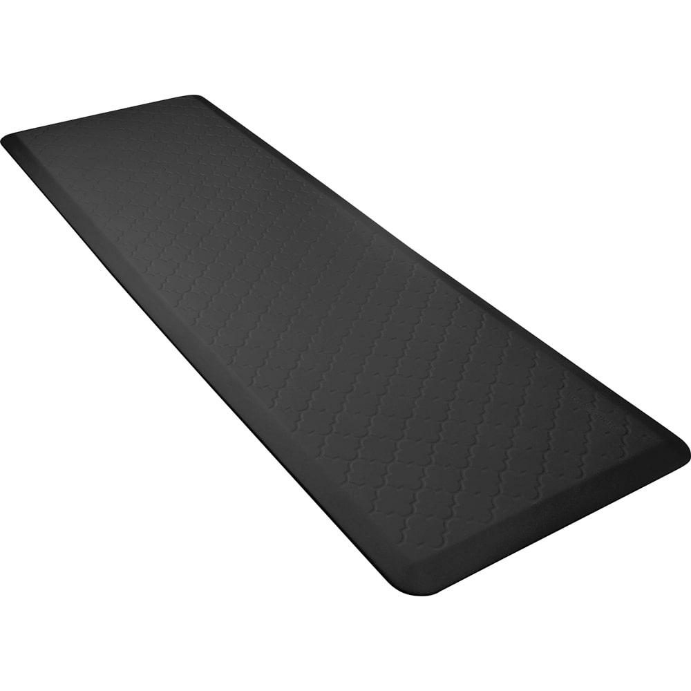 Wellness Mats PMT62WMRBLK Trellis Motif Mat w/ No-Trip Beveled Edge & Non-Slip Material, 6x2-ft, Black