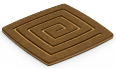 Epicurean 019-04040301 4 x 4-in Coaster, Nutmeg w/ Natural Pin Stripe Side, Hot/ Cold