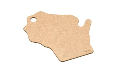 """Epicurean 032-WI0102 State Shape Novelty Cutting Board, 12x14"""", Wisconsin, Natural/Slate"""