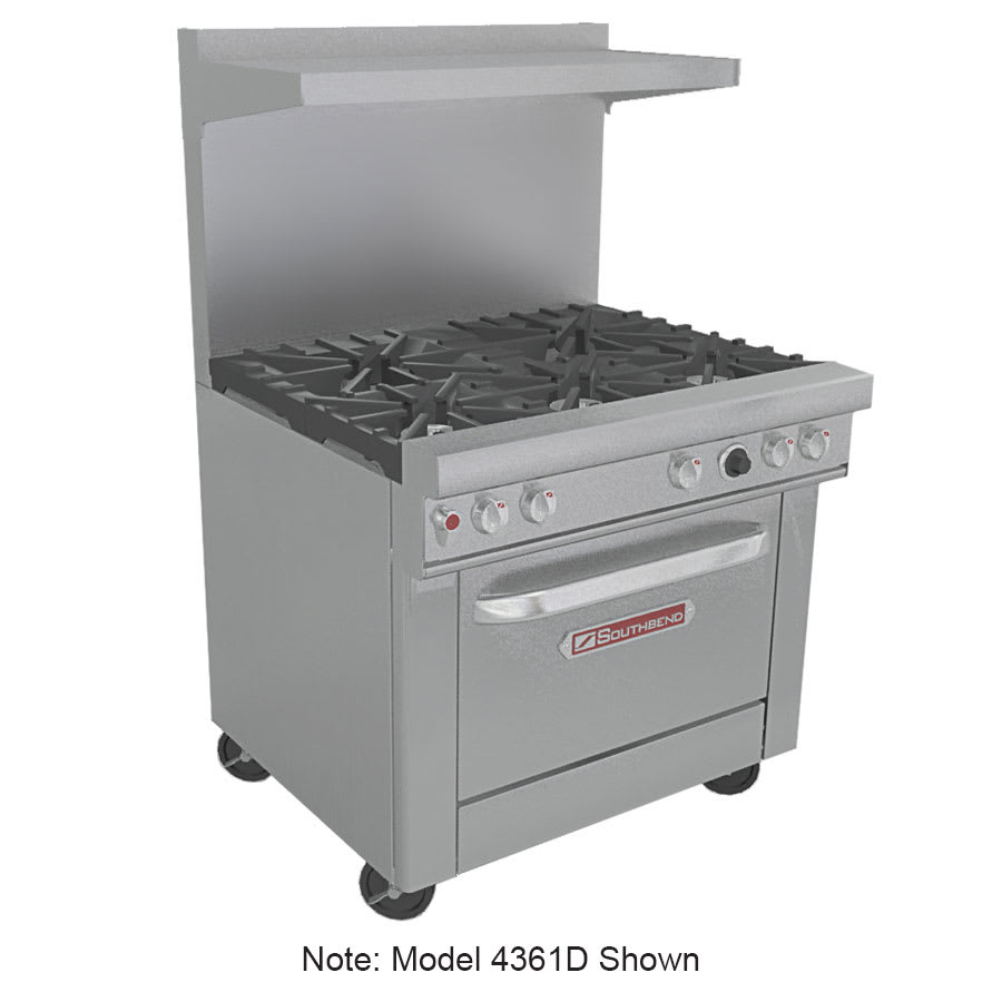 """Southbend 4361A-2CR 36"""" 2-Burner Gas Range with Charbroiler, NG"""