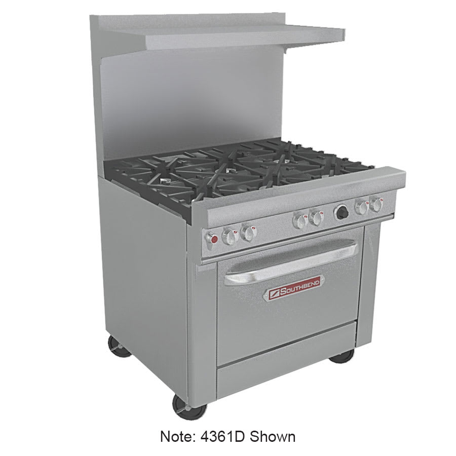 """Southbend 4362A-2CL 36"""" 2-Burner Gas Range with Charbroiler, NG"""