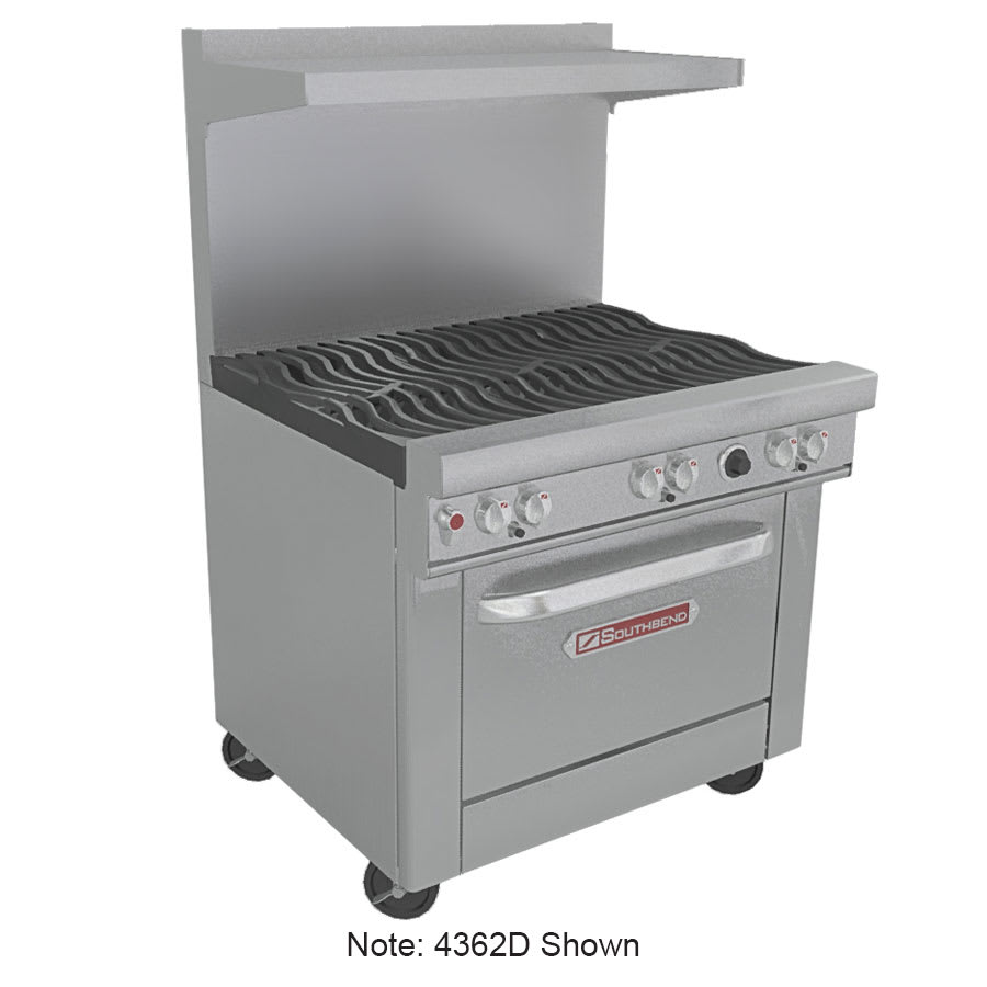 """Southbend 4363A-2CR 36"""" 2-Burner Gas Range with Charbroiler, NG"""