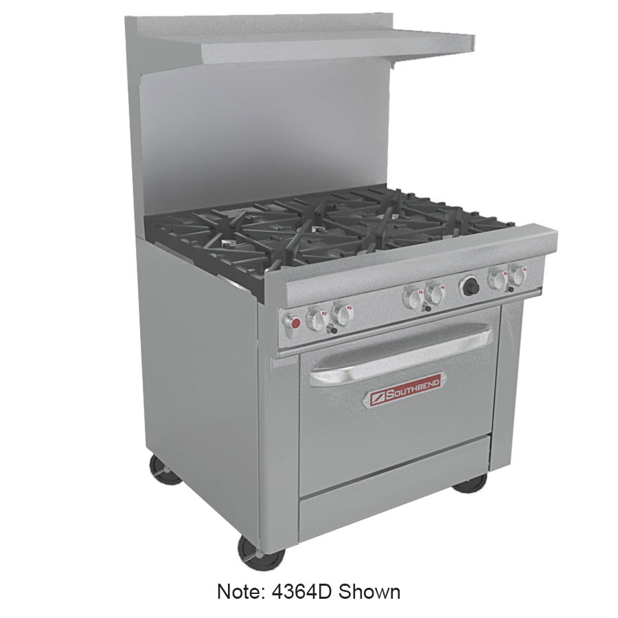 """Southbend 4364A-2CR 36"""" 2-Burner Gas Range with Charbroiler, NG"""