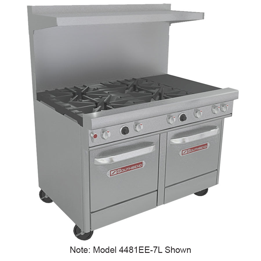 "Southbend 4481EE-2TR 48"" 4-Burner Gas Range with Griddle, NG"