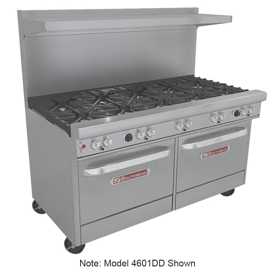 "Southbend 4601AA-3CL 60"" 4-Burner Gas Range with Charbroiler, LP"