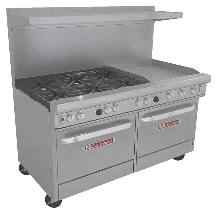 "Southbend 4601DD-2GR 60"" 6-Burner Gas Range with Griddle, NG"