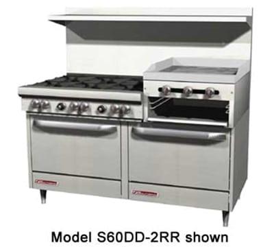 """Southbend 4607DD-2RR 60"""" 4-Burner Gas Range with Griddle & Broiler, LP"""