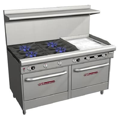 "Southbend 4607DD-2TR 60"" 4 Burner Gas Range with Griddle, NG"
