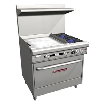 "Southbend H4361A-2GL 36"" 2-Burner Gas Range with Griddle, LP"