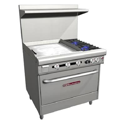 "Southbend H4361A-2TL 36"" 2-Burner Gas Range with Griddle, NG"