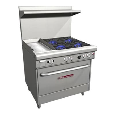 "Southbend H4361D-1G 36"" 4 Burner Gas Range with Griddle, LP"
