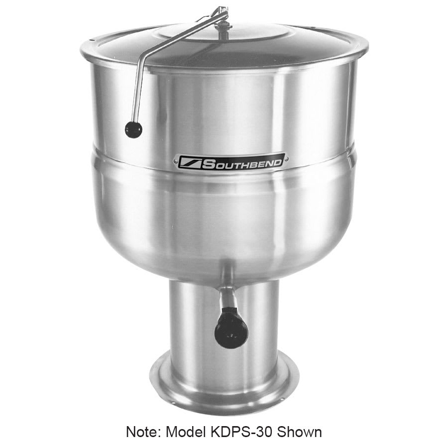 Southbend KDPS-100 100 gal Stationary Kettle, Pedestal, Hinged Cover, 2/3 Jacket