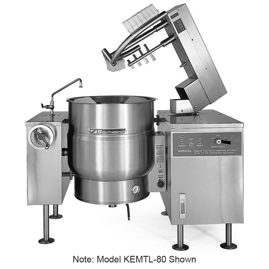 Southbend KEMTL-80 80-gal Tilt-Type Kettle Mixer, Thermostatic, 2/3-Jacket, 240v/3ph