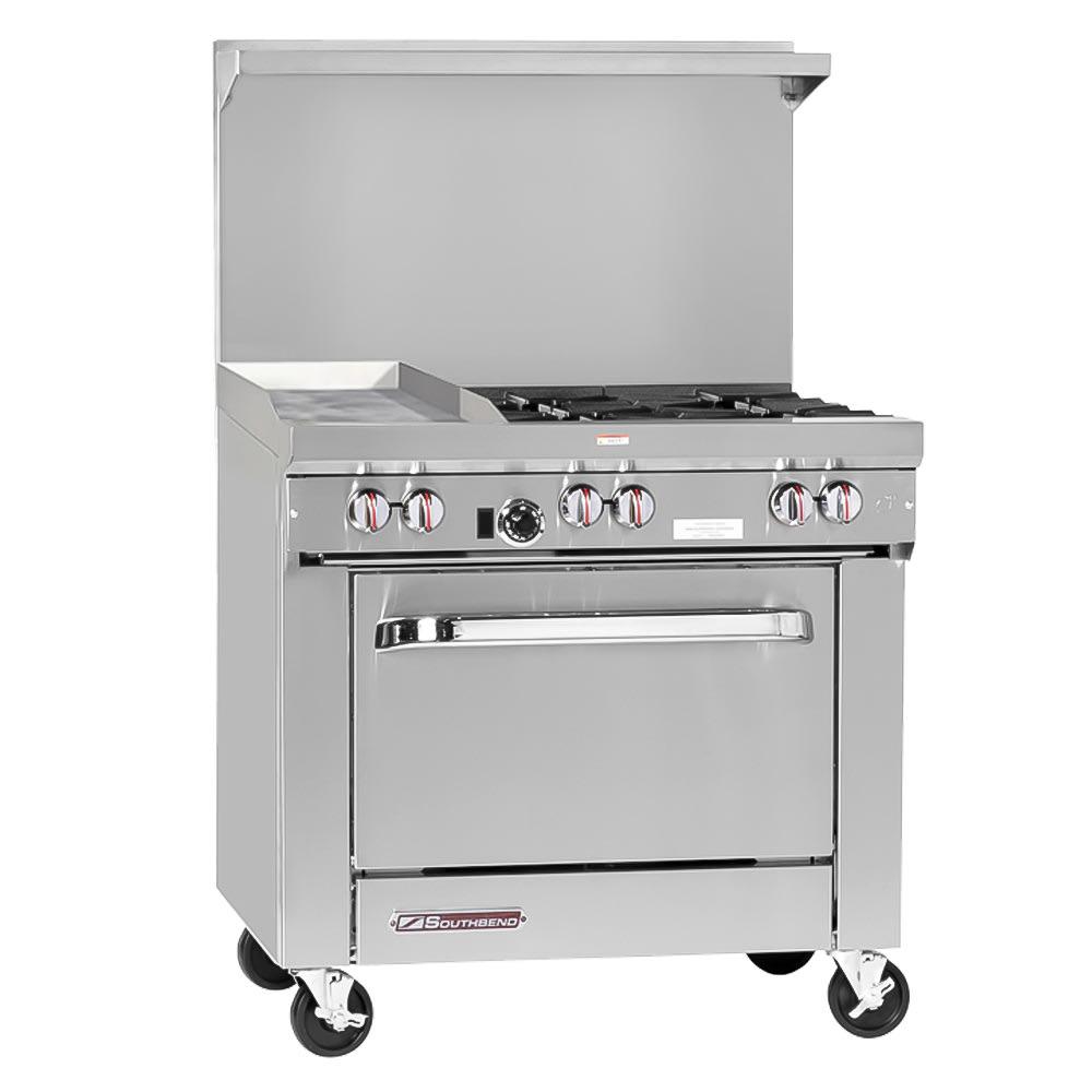"""Southbend S36D-1GL 36"""" 4-Burner Gas Range with Griddle, LP"""