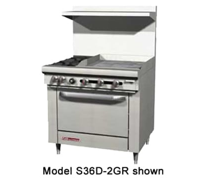 "Southbend S36D-2GL 36"" 2-Burner Gas Range with Griddle, LP"