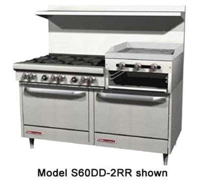 "Southbend S60AA-2RR 60"" 6 Burner Gas Range with Griddle & Broiler, NG"