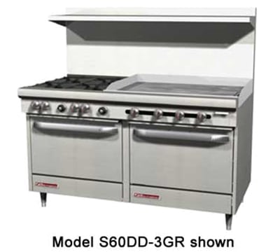 """Southbend S60AA-4T 60"""" 2-Burner Gas Range with Griddle, NG"""