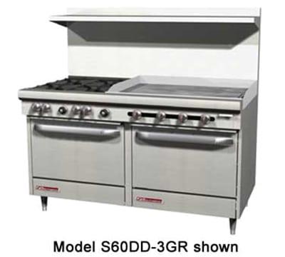 """Southbend S60AC-4TL 60"""" 2 Burner Gas Range with Griddle, NG"""
